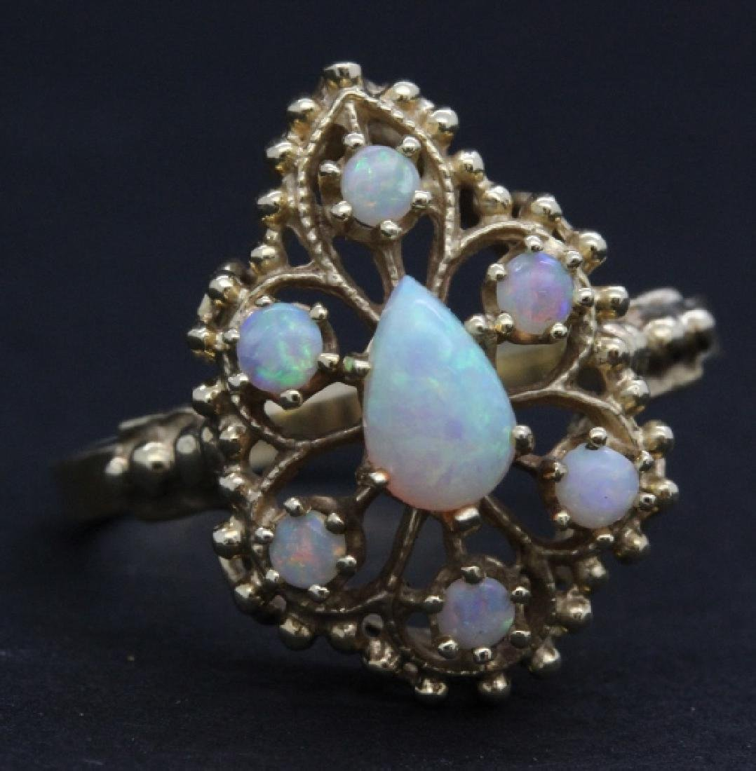 Victorian Style Pierced Filigree 14k Opal Ring Size 7 - 2