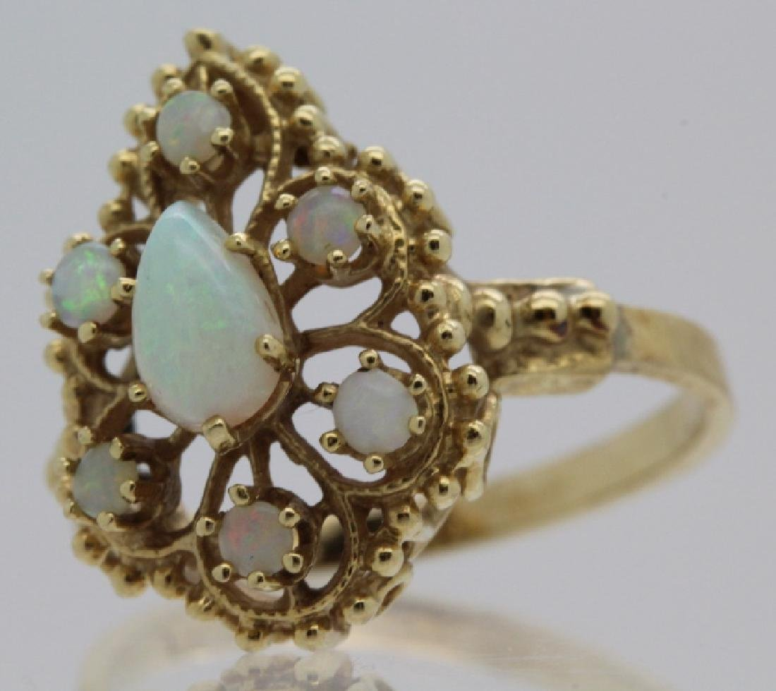 Victorian Style Pierced Filigree 14k Opal Ring Size 7 - 3