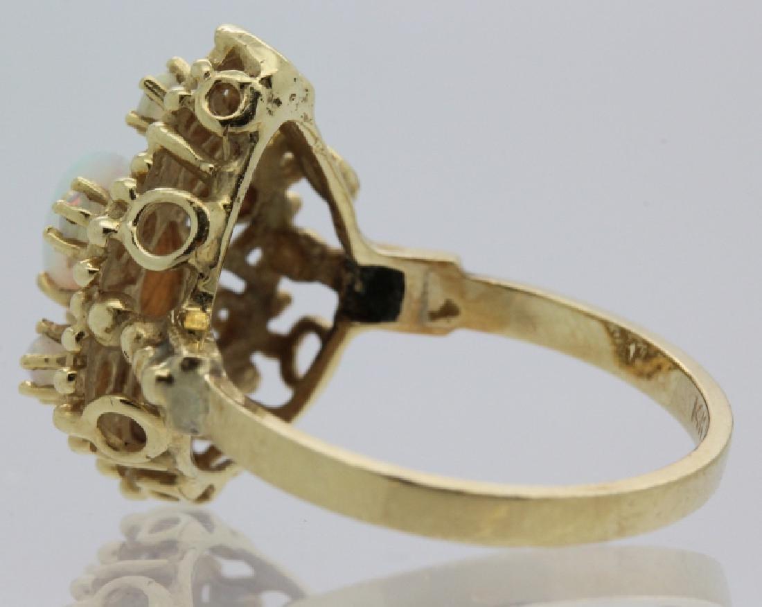 Victorian Style Pierced Filigree 14k Opal Ring Size 7 - 4