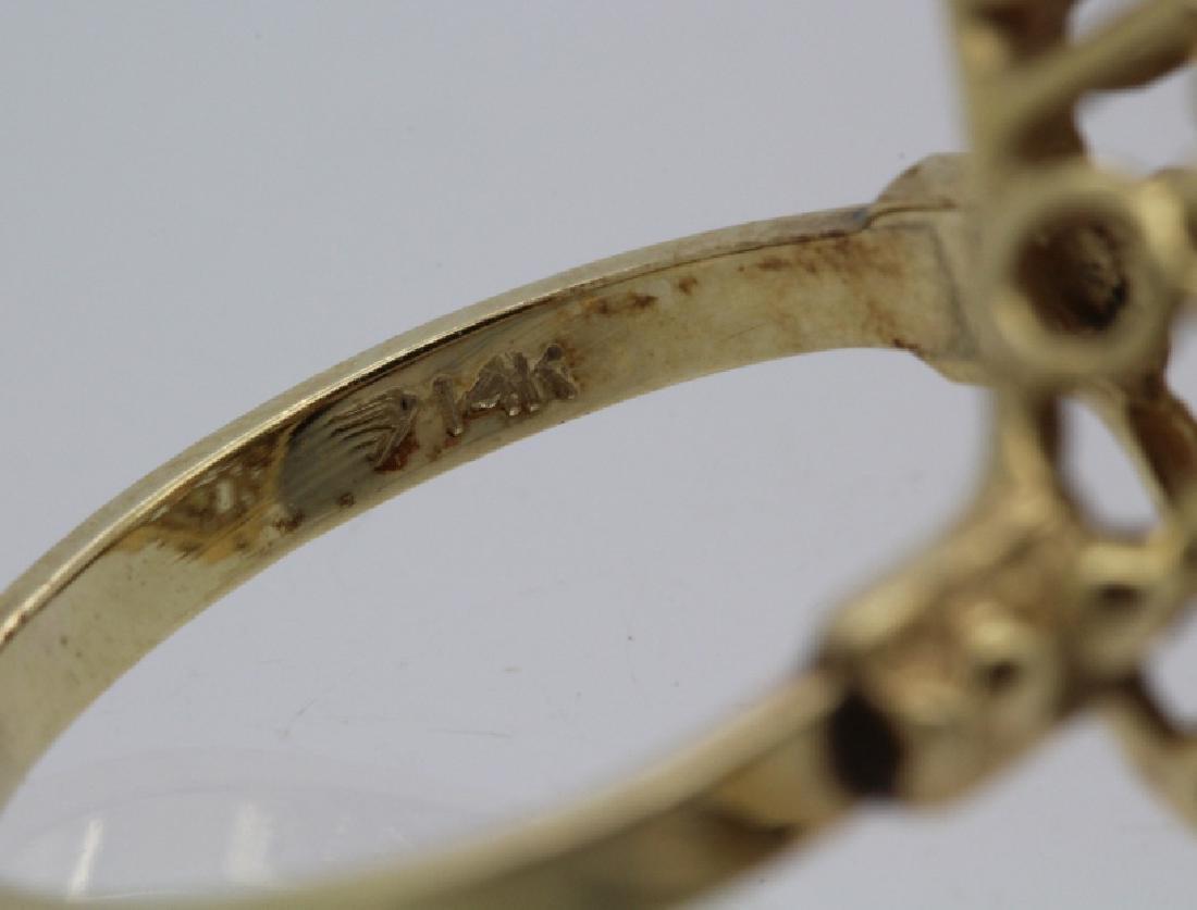 Victorian Style Pierced Filigree 14k Opal Ring Size 7 - 6