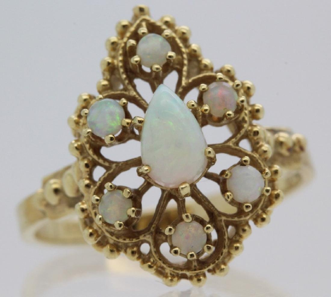 Victorian Style Pierced Filigree 14k Opal Ring Size 7 - 7