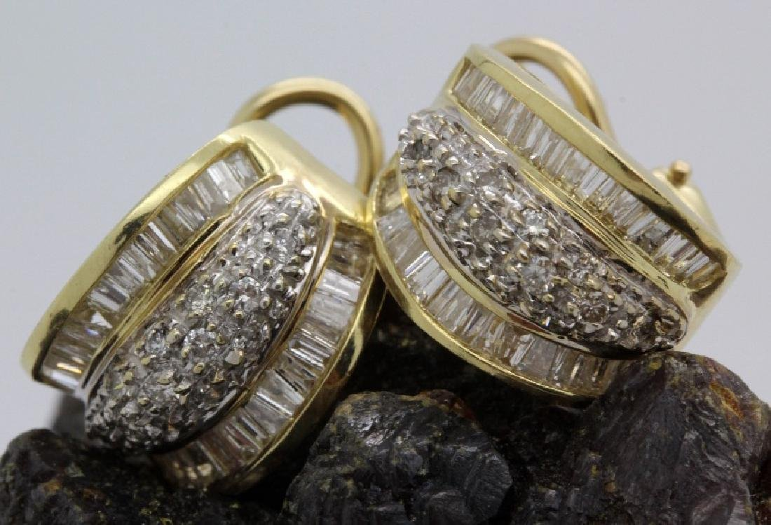 PAIR of 14k Yellow Gold 1.5 Ct TW Diamond Earrings