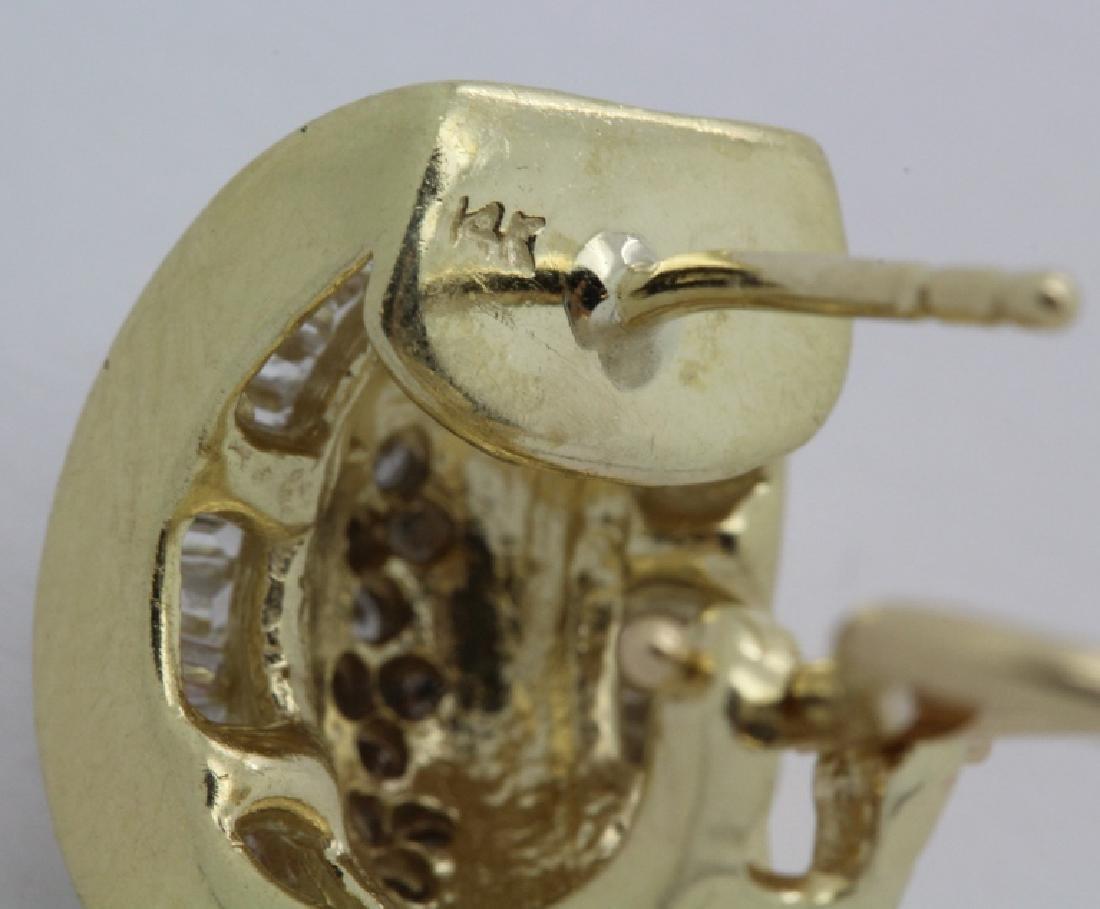 PAIR of 14k Yellow Gold 1.5 Ct TW Diamond Earrings - 4