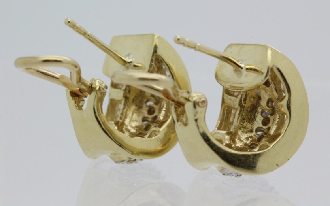 PAIR of 14k Yellow Gold 1.5 Ct TW Diamond Earrings - 6