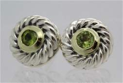 David Yurman 18k Sterling Silver Green Peridot Earrings