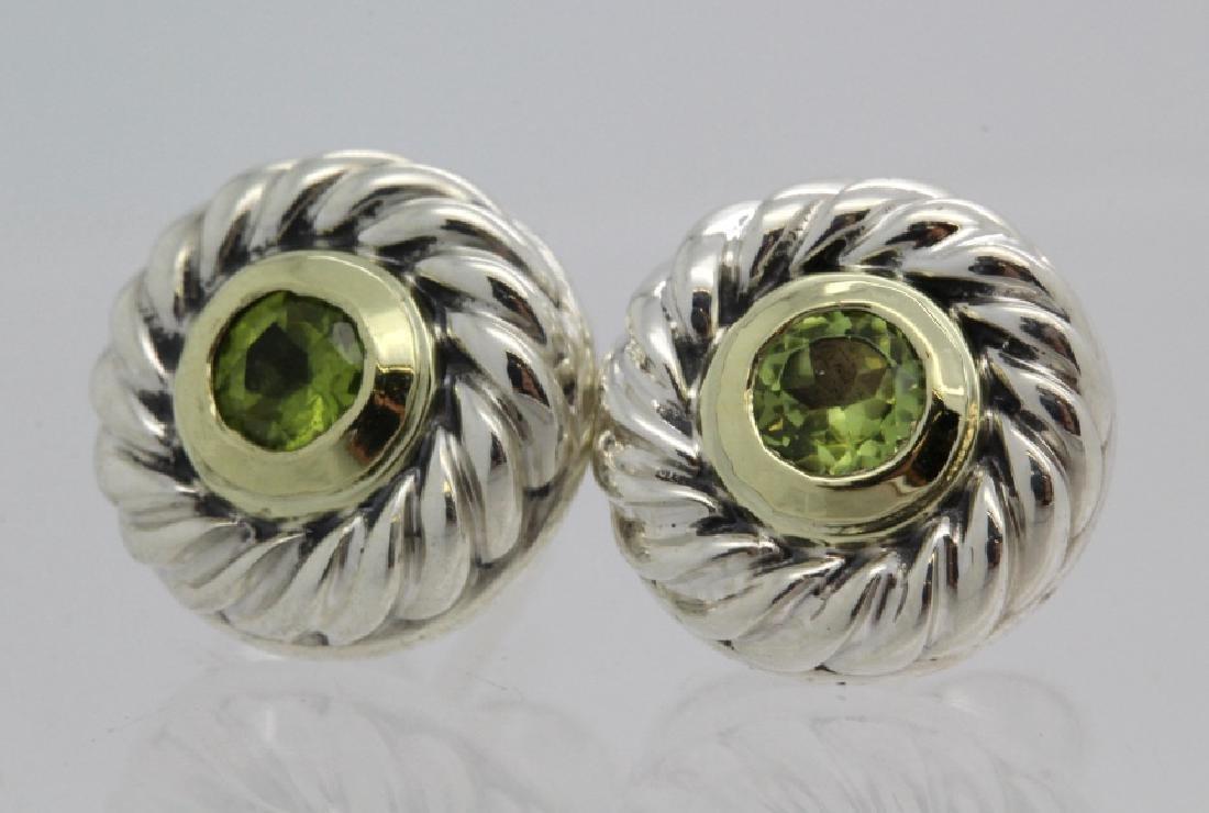 David Yurman 18k Sterling Silver Green Peridot Earrings