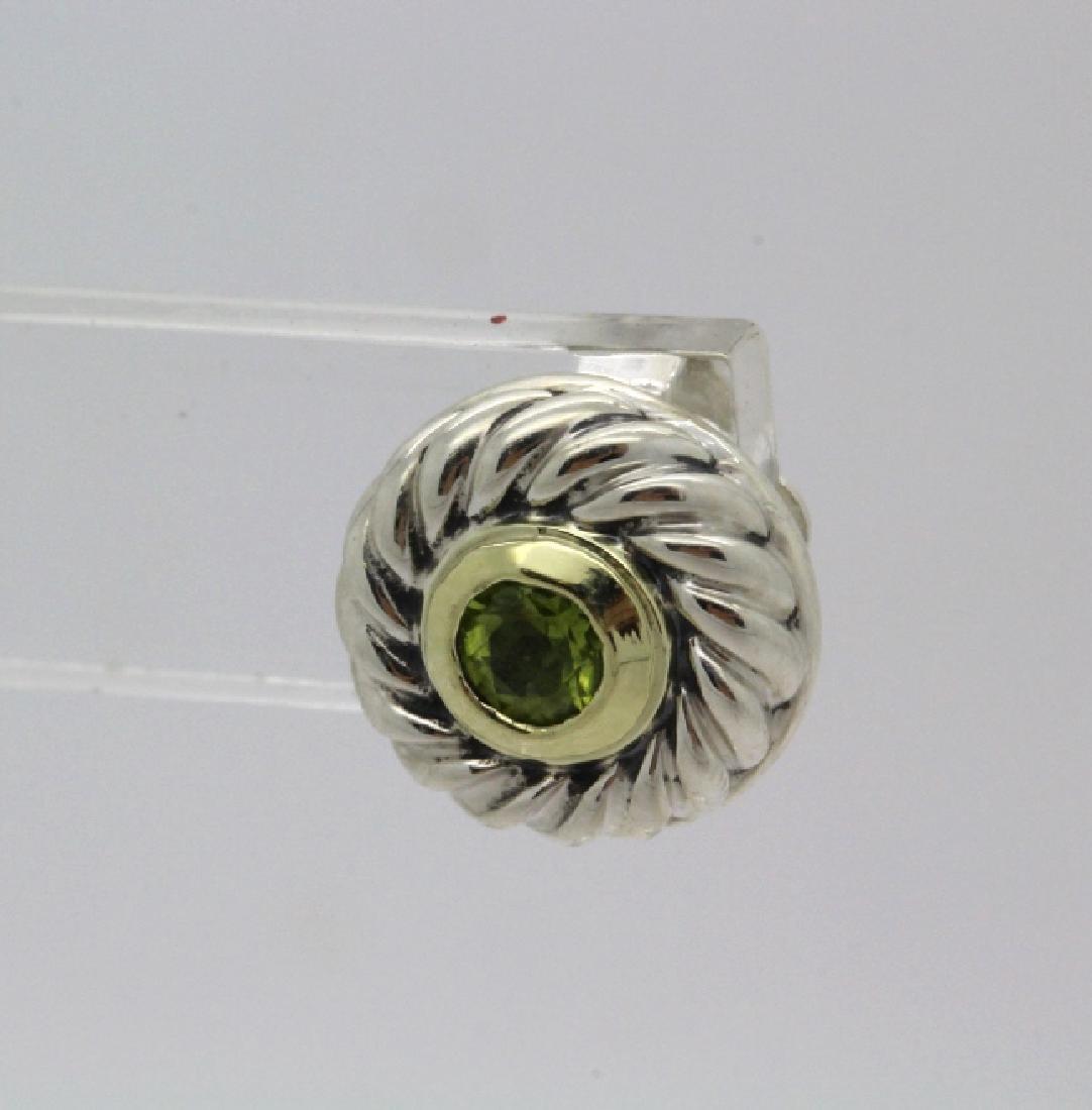 David Yurman 18k Sterling Silver Green Peridot Earrings - 3