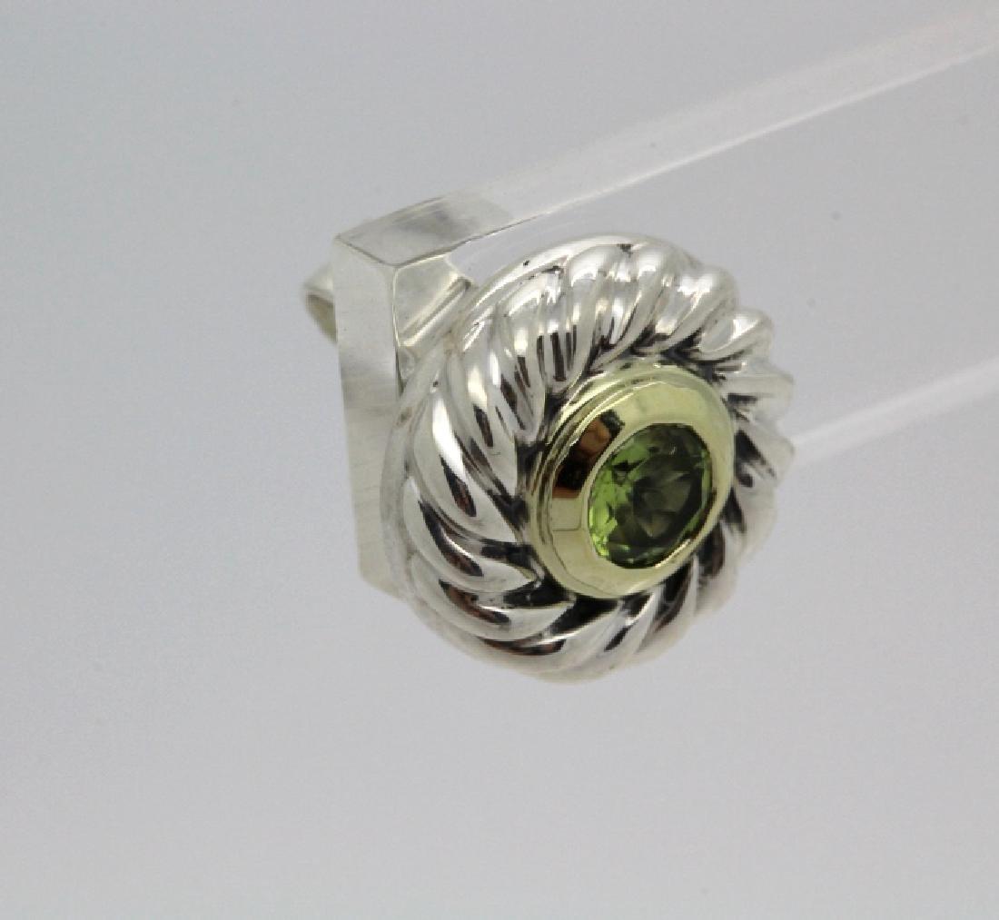 David Yurman 18k Sterling Silver Green Peridot Earrings - 4