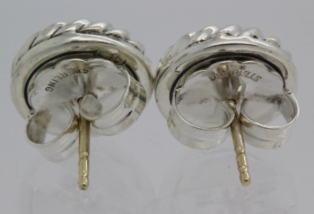 David Yurman 18k Sterling Silver Green Peridot Earrings - 6