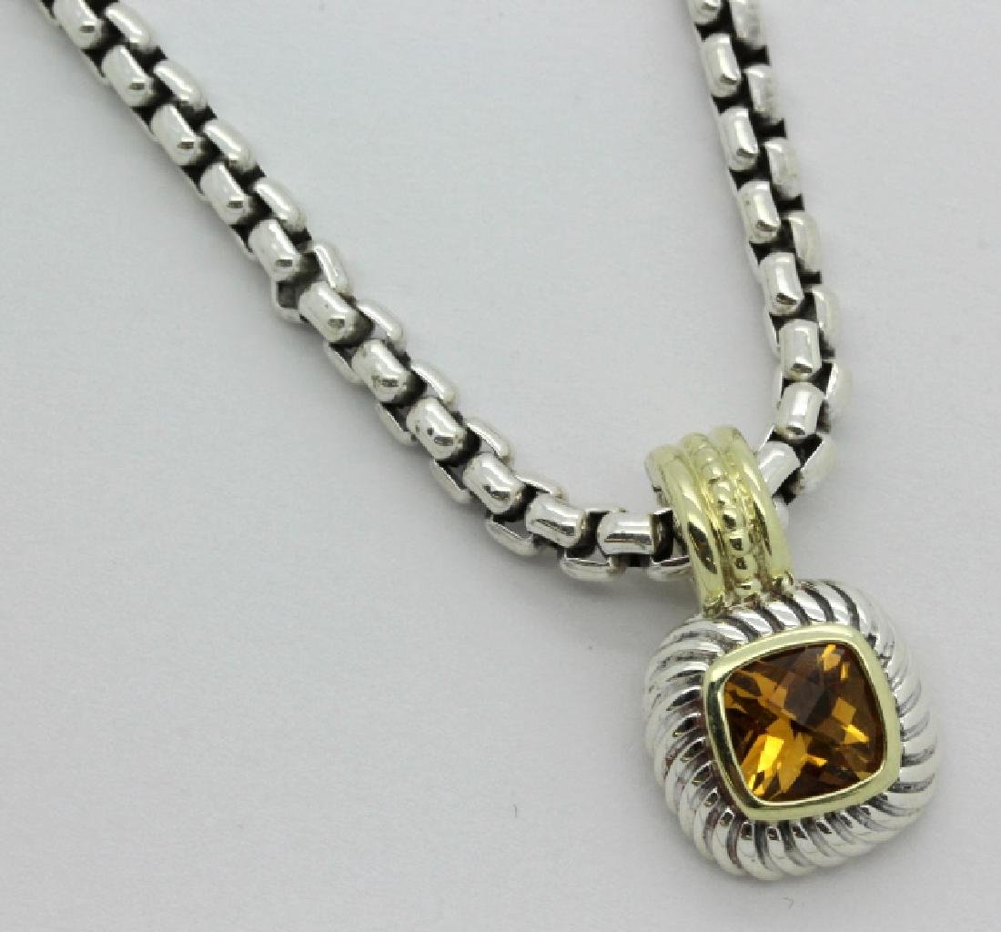 David Yurman 18k & Silver Necklace & Citrine Pendant