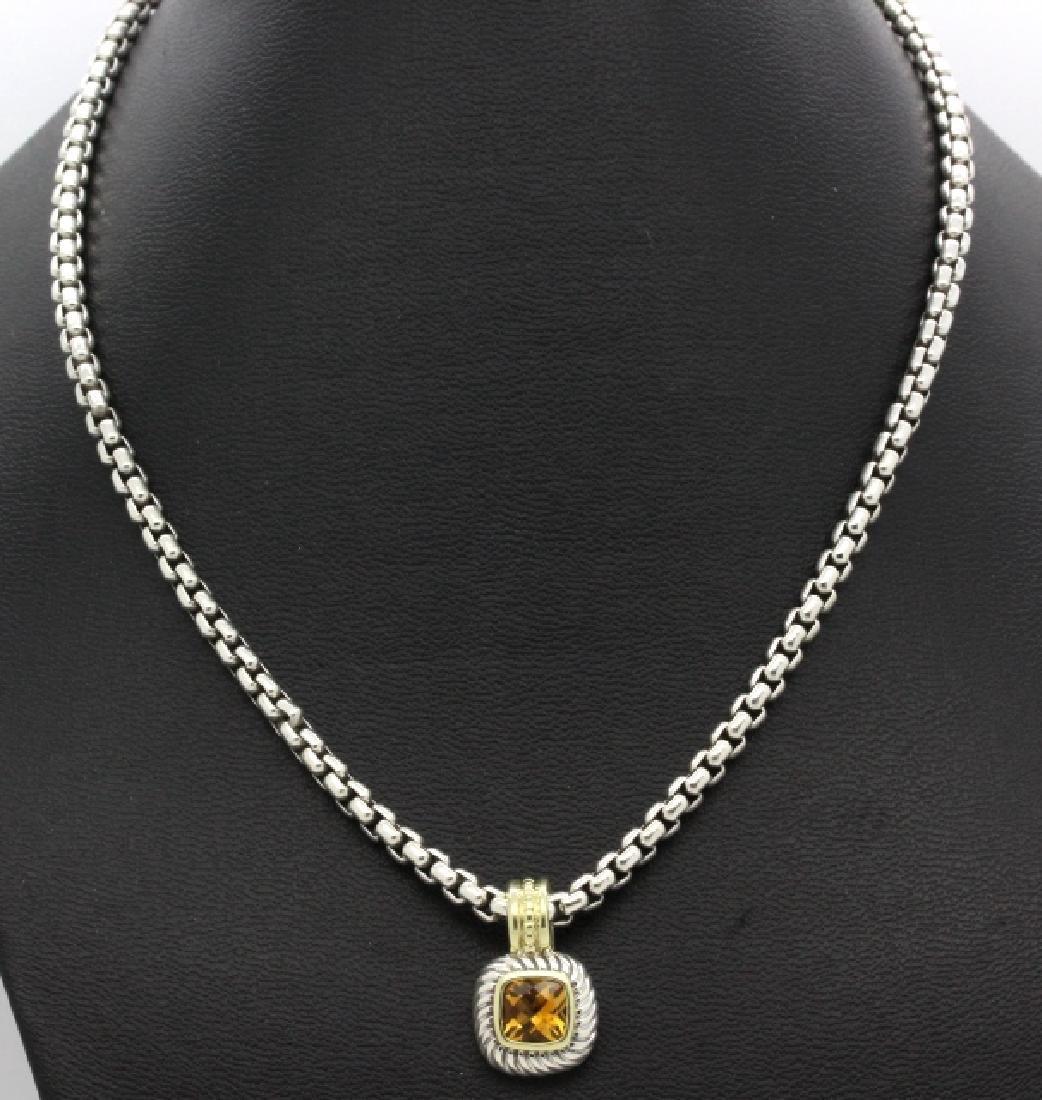 David Yurman 18k & Silver Necklace & Citrine Pendant - 2