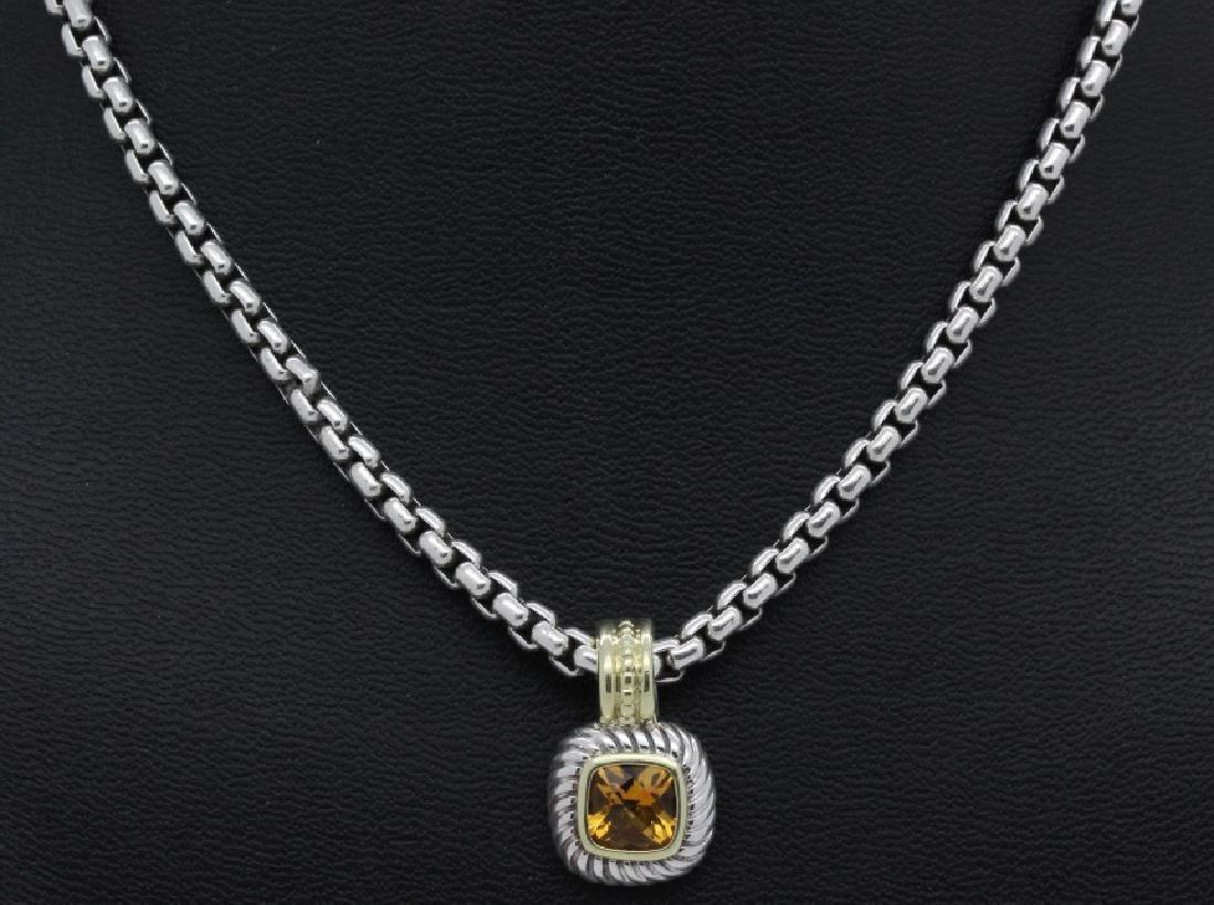 David Yurman 18k & Silver Necklace & Citrine Pendant - 3