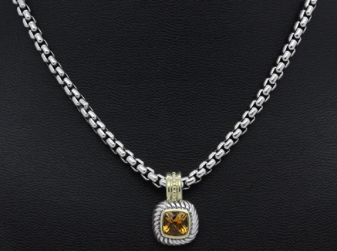 David Yurman 18k & Silver Necklace & Citrine Pendant - 3