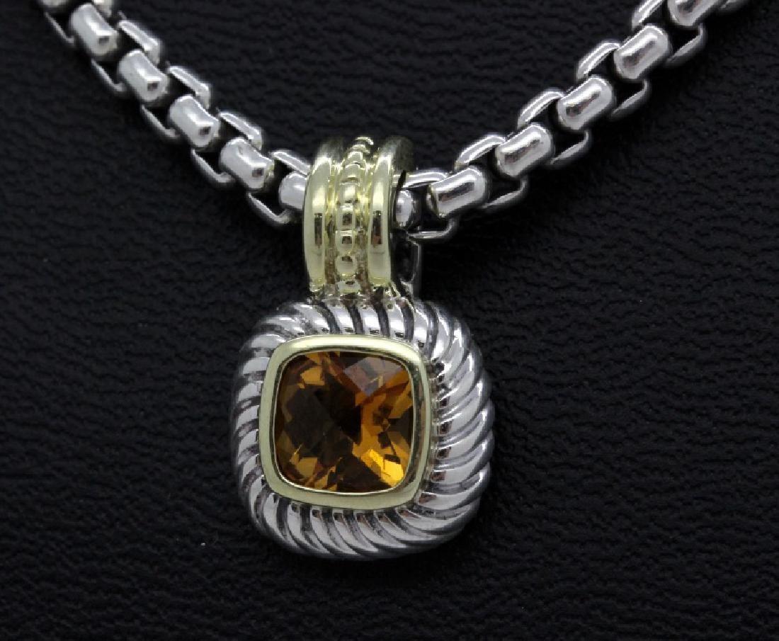 David Yurman 18k & Silver Necklace & Citrine Pendant - 4