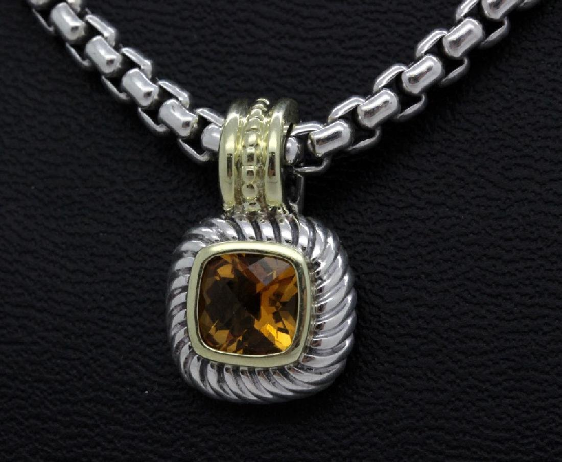 David Yurman 18k & Silver Necklace & Citrine Pendant - 4