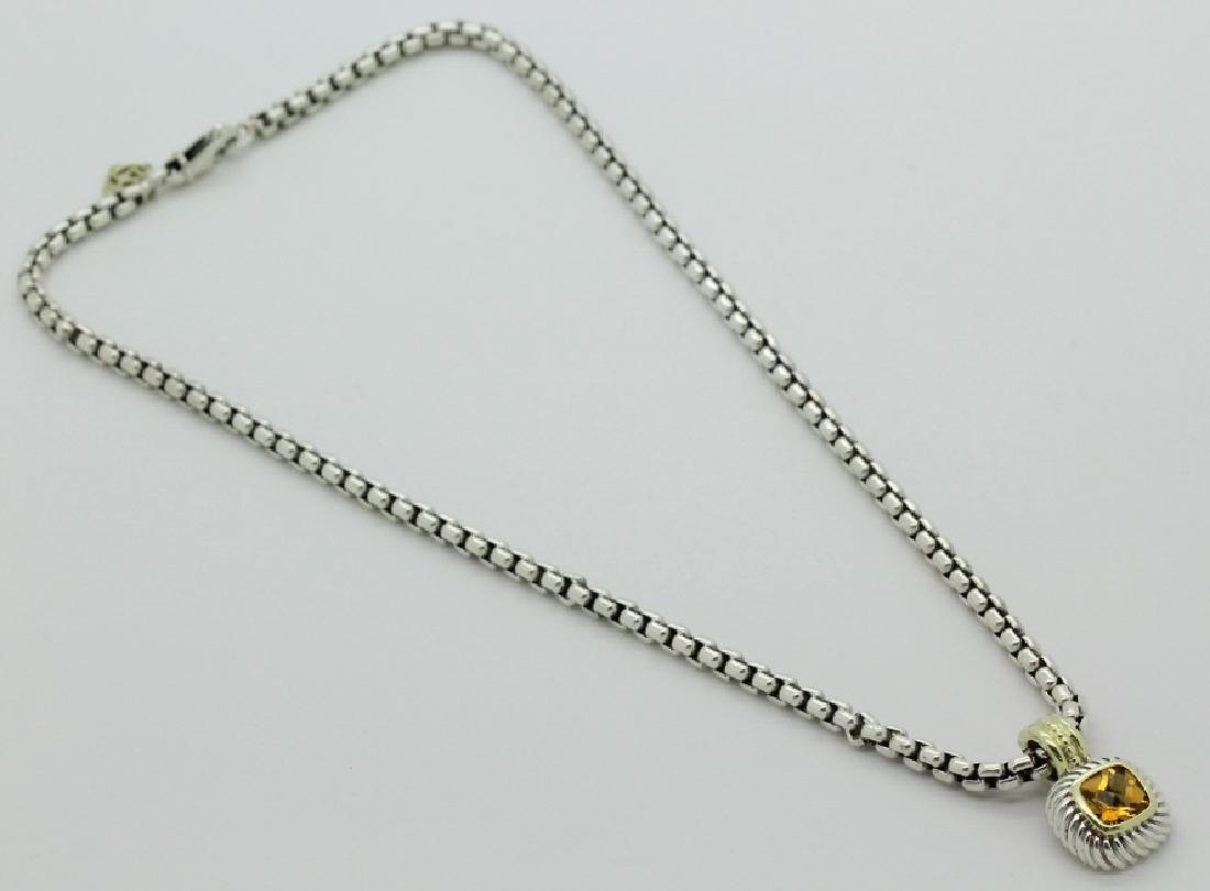 David Yurman 18k & Silver Necklace & Citrine Pendant - 5