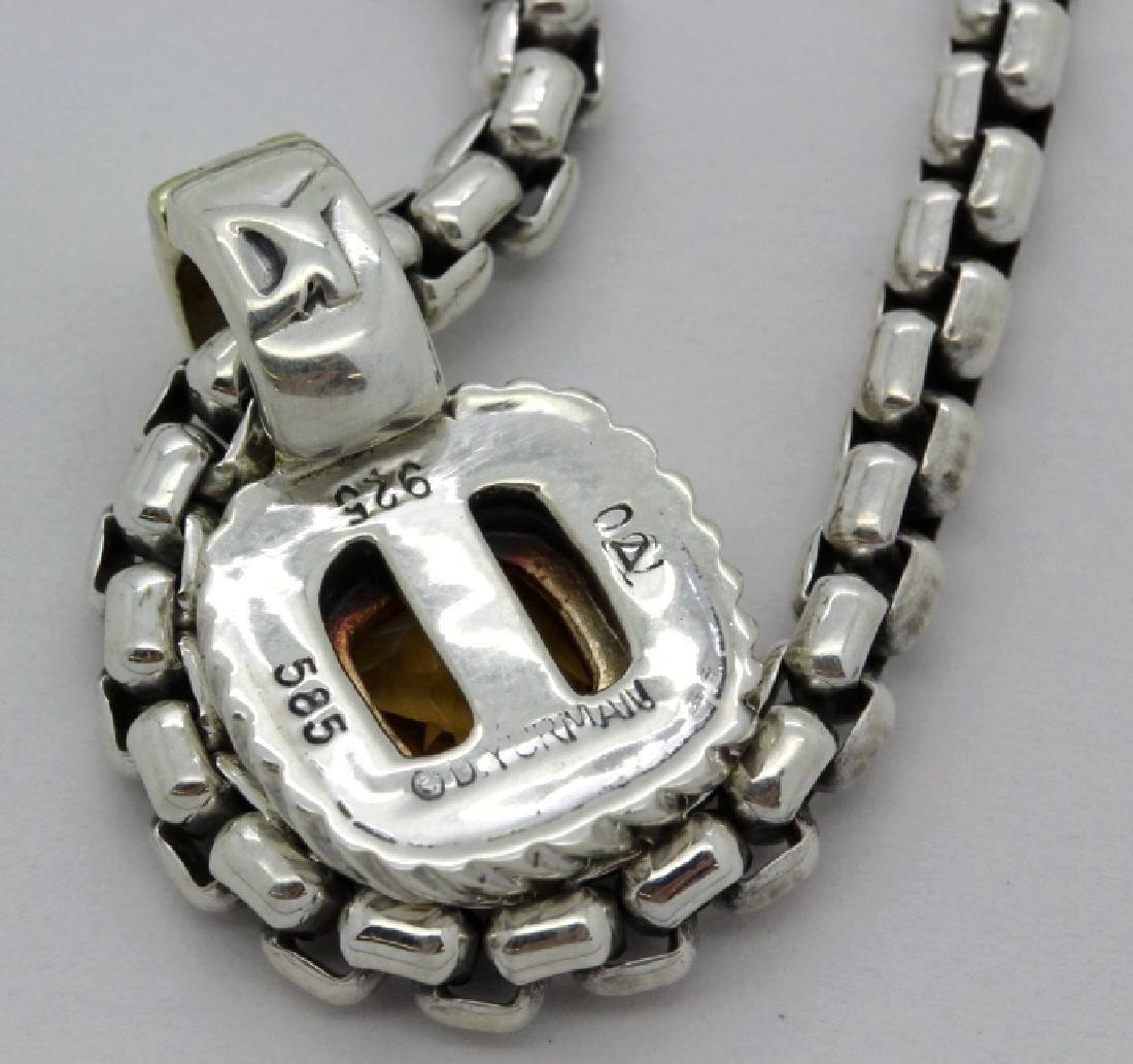David Yurman 18k & Silver Necklace & Citrine Pendant - 6