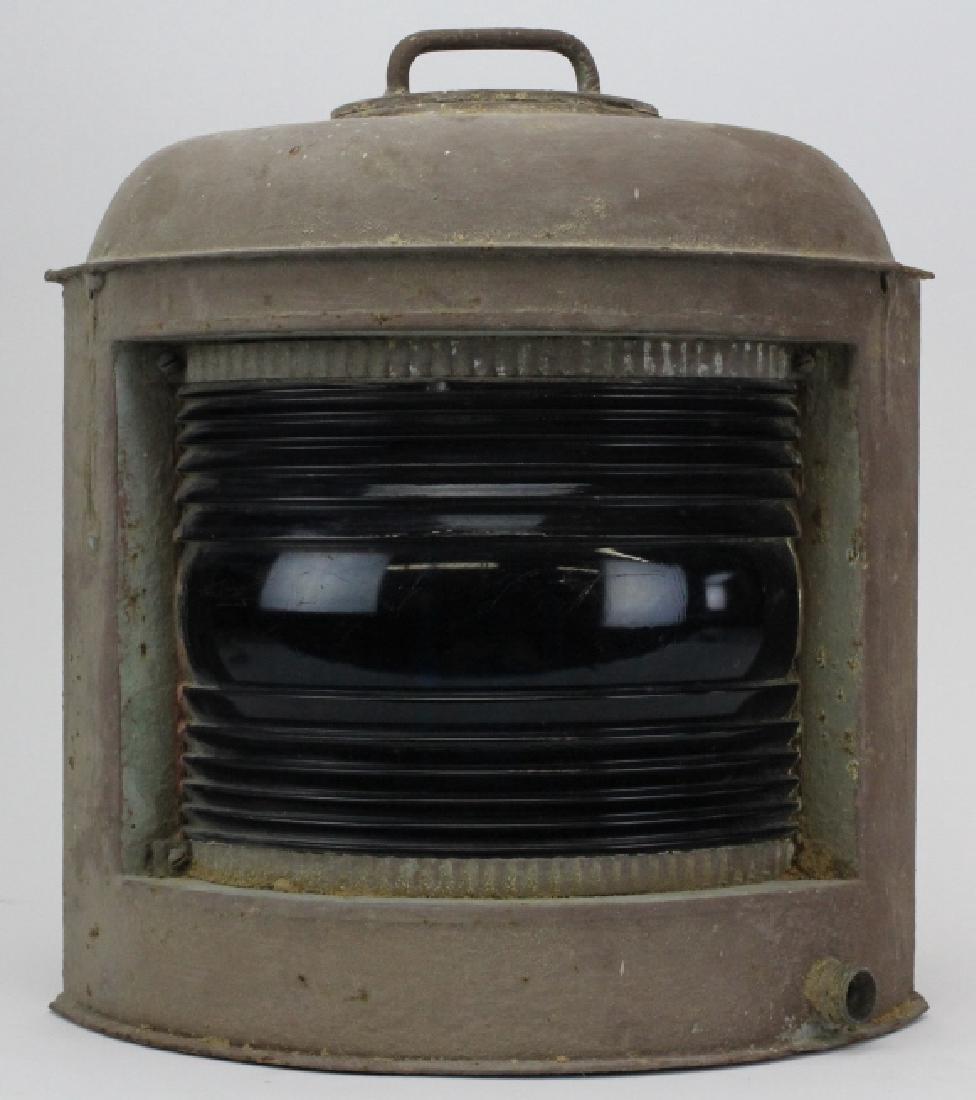 Antique Green Glass Starboard Ships Boat Lantern Lamp