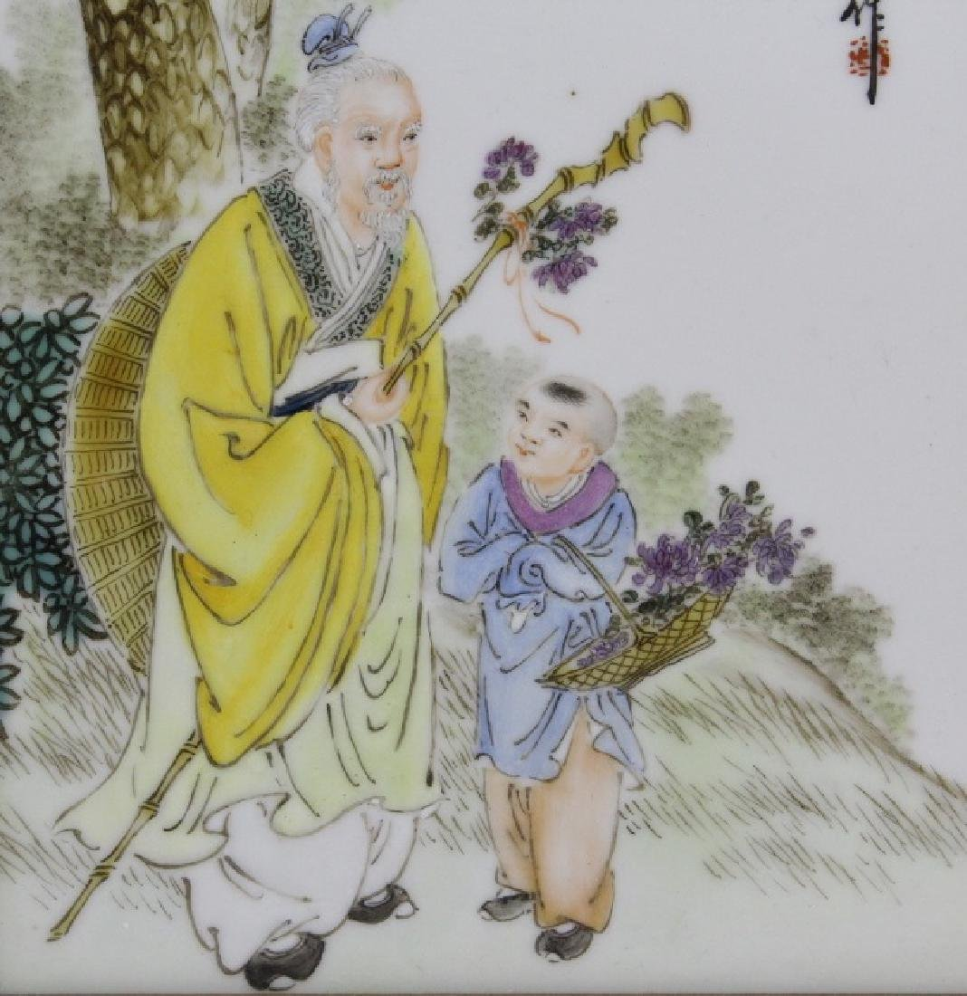 Chinese Wood Porcelain Elder & Child Calligraphy Plaque - 2