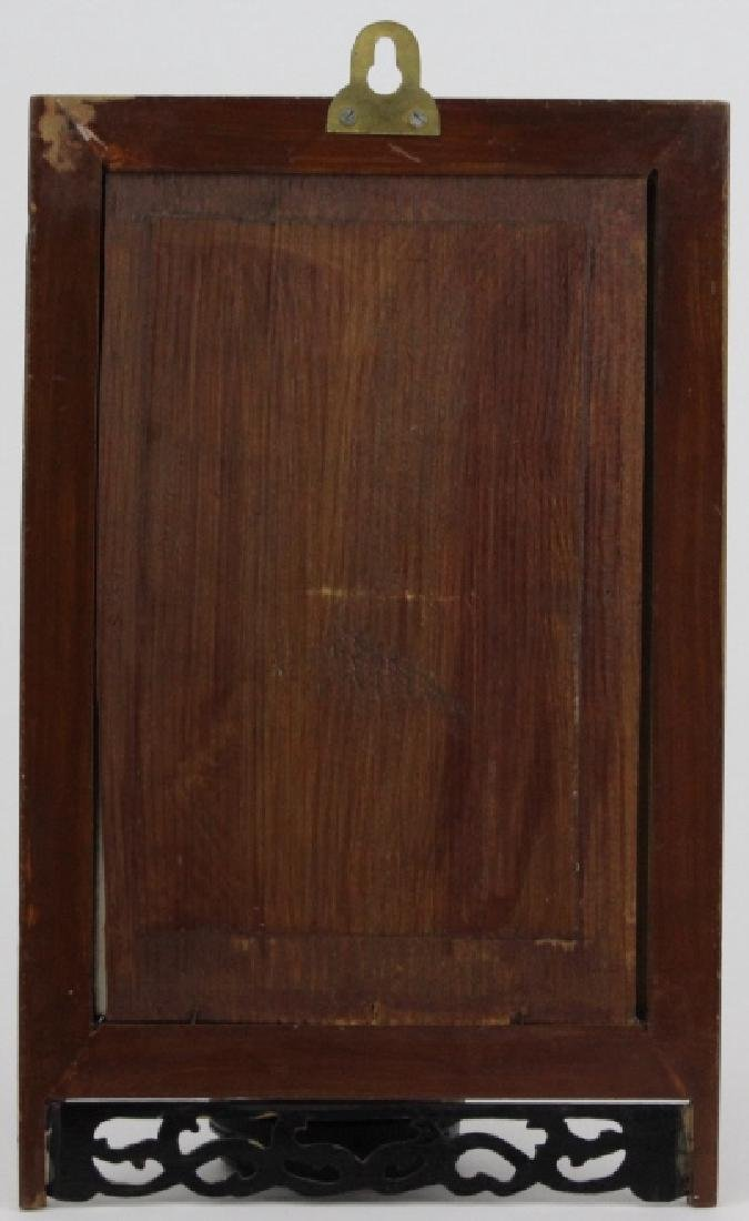 Chinese Wood Porcelain Elder & Child Calligraphy Plaque - 4