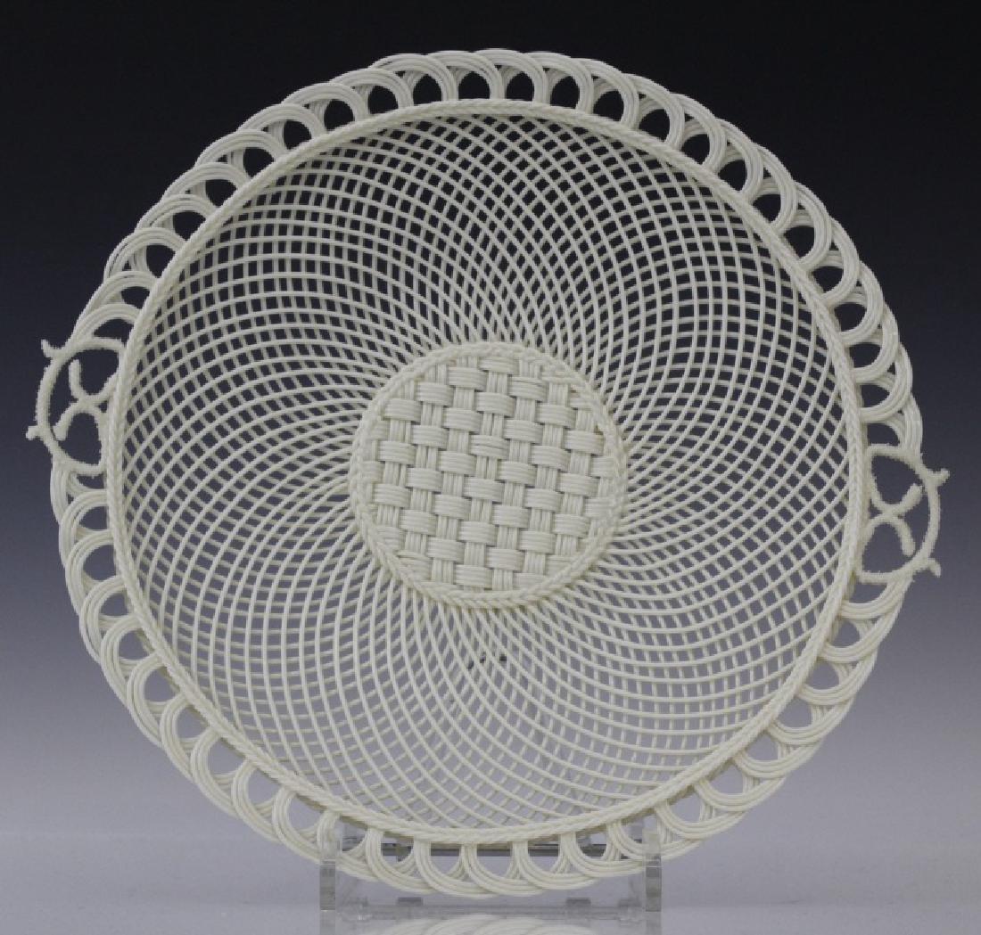 Irish Belleek Porcelain Woven Lattice Basket Tray Plate