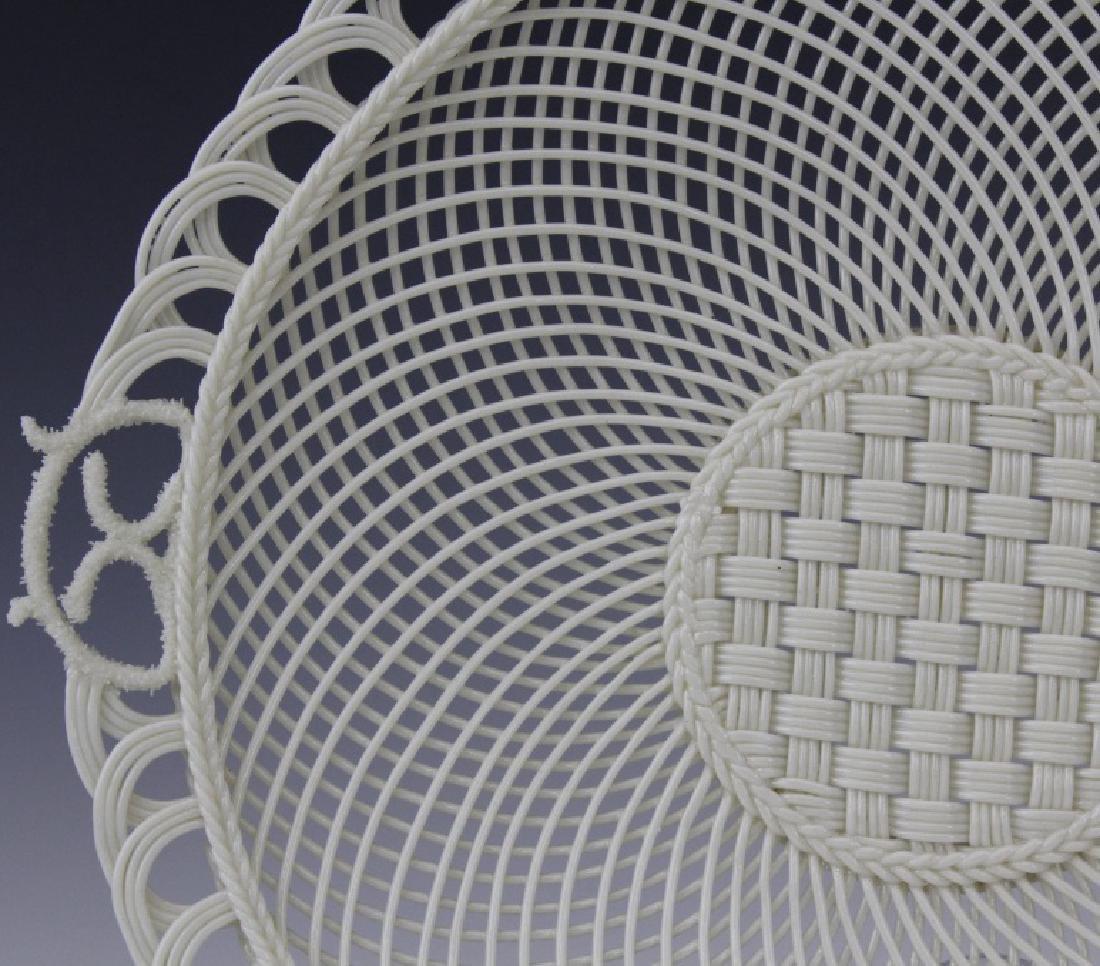 Irish Belleek Porcelain Woven Lattice Basket Tray Plate - 2