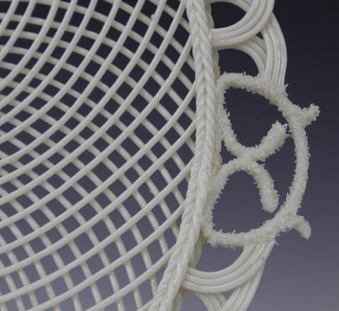 Irish Belleek Porcelain Woven Lattice Basket Tray Plate - 3