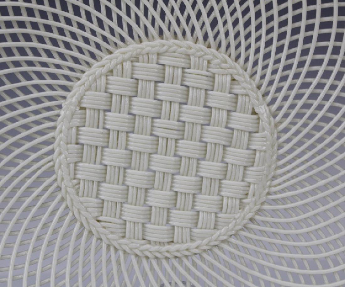 Irish Belleek Porcelain Woven Lattice Basket Tray Plate - 4