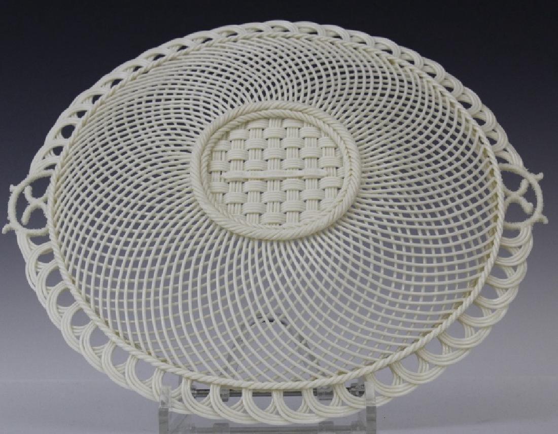 Irish Belleek Porcelain Woven Lattice Basket Tray Plate - 5