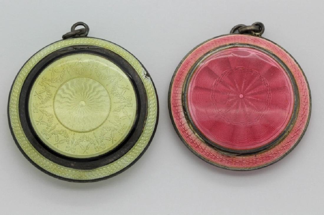 (2) Art Deco Sterling Silver Guilloche Compact Pendants