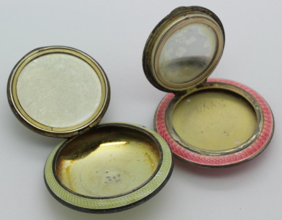 (2) Art Deco Sterling Silver Guilloche Compact Pendants - 5