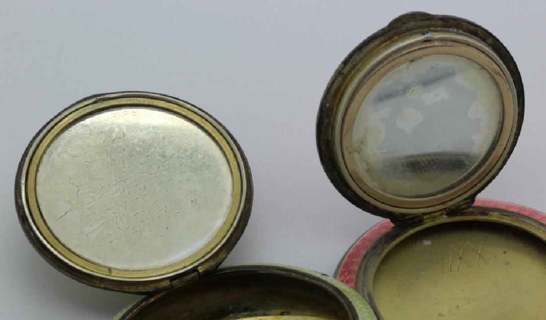 (2) Art Deco Sterling Silver Guilloche Compact Pendants - 8