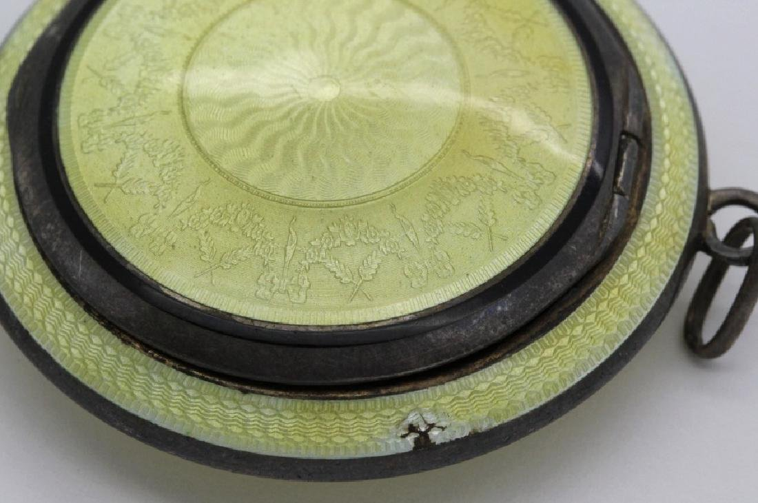 (2) Art Deco Sterling Silver Guilloche Compact Pendants - 9