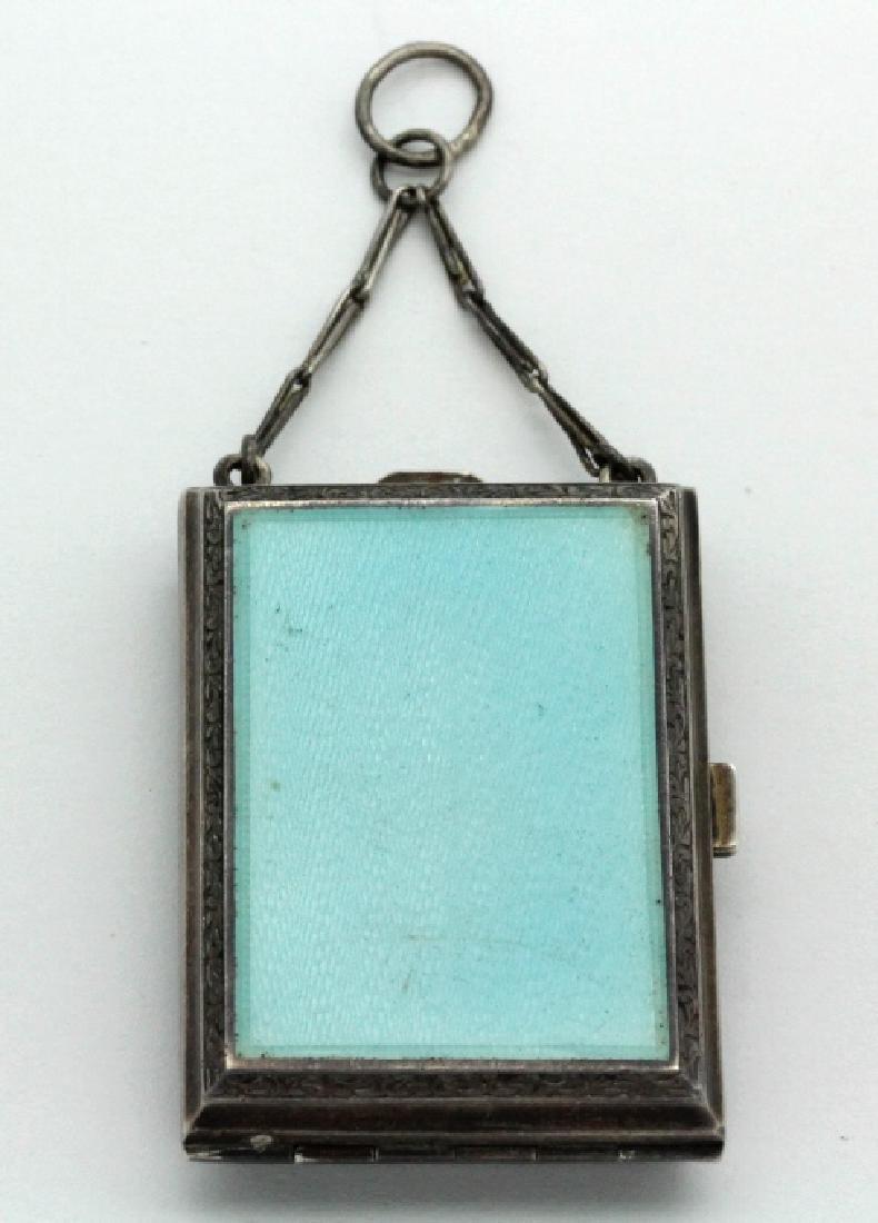 Antique German Enamel .935 Silver Compact Pendant