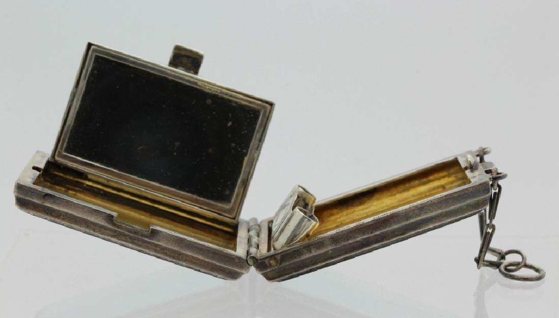 Antique German Enamel .935 Silver Compact Pendant - 5