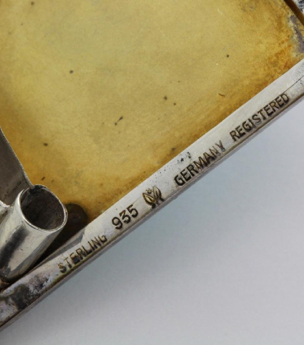 Antique German Enamel .935 Silver Compact Pendant - 8