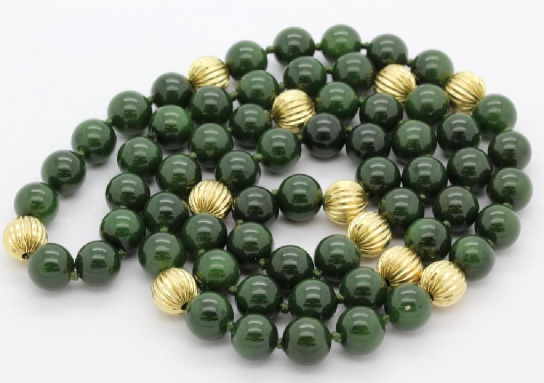 """14K Gold Spinach Green Jade Bead 31"""" Necklace Strand"""