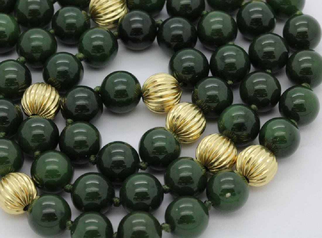 """14K Gold Spinach Green Jade Bead 31"""" Necklace Strand - 2"""