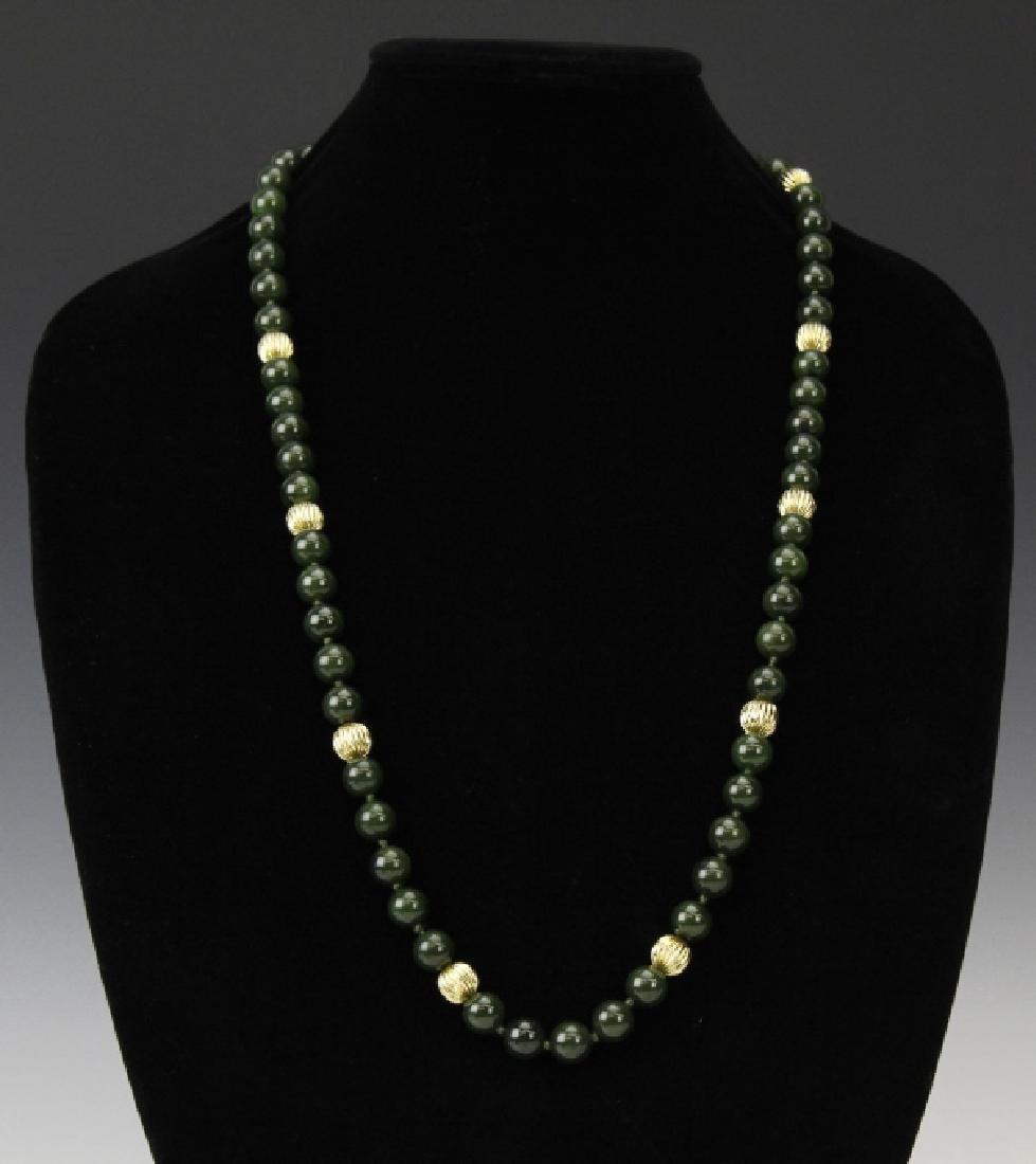 """14K Gold Spinach Green Jade Bead 31"""" Necklace Strand - 3"""
