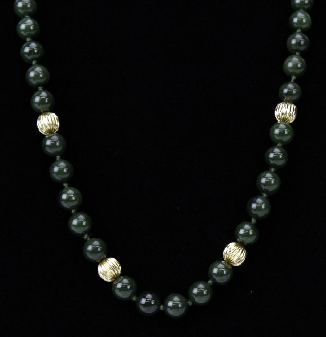 """14K Gold Spinach Green Jade Bead 31"""" Necklace Strand - 4"""