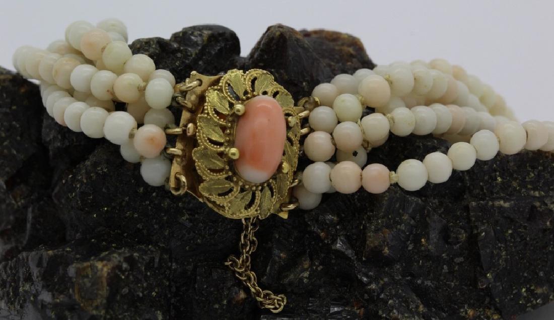 18k Gold 5 Strand Nat. Angel Skin Coral Bead Bracelet