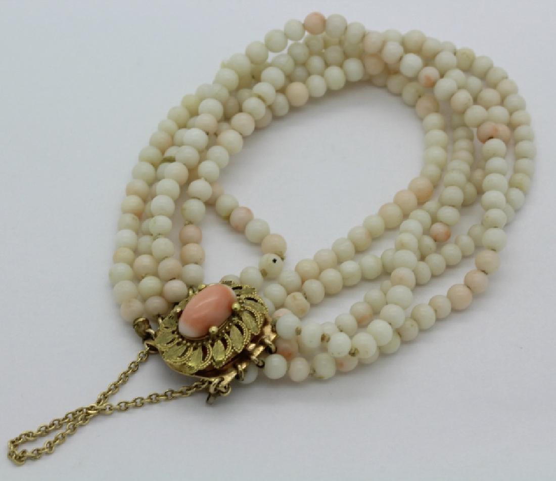 18k Gold 5 Strand Nat. Angel Skin Coral Bead Bracelet - 2