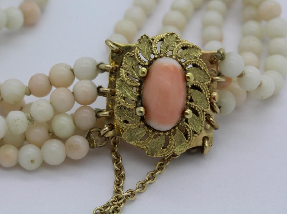 18k Gold 5 Strand Nat. Angel Skin Coral Bead Bracelet - 3