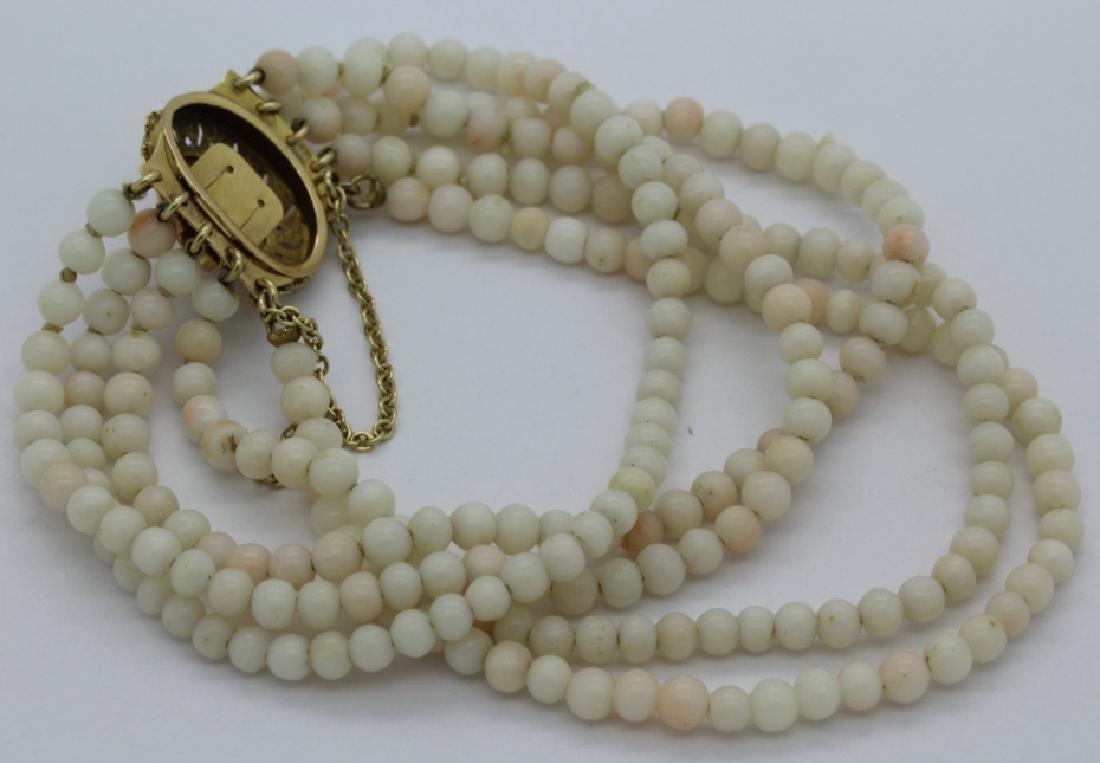 18k Gold 5 Strand Nat. Angel Skin Coral Bead Bracelet - 4