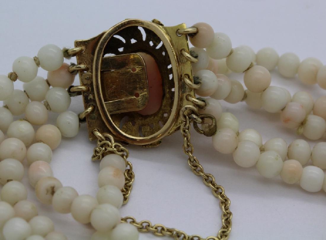 18k Gold 5 Strand Nat. Angel Skin Coral Bead Bracelet - 5