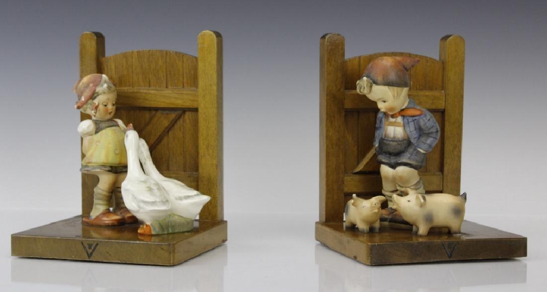 PAIR of Hummel Porcelain & Wood Decor Bookends