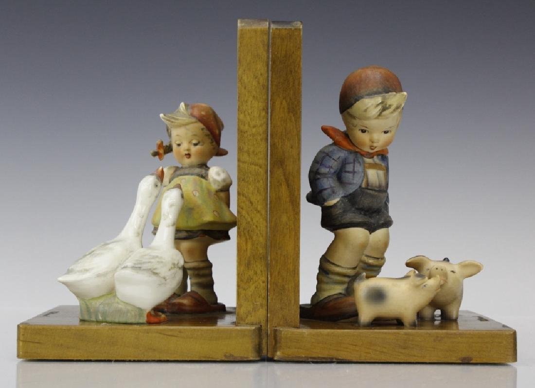PAIR of Hummel Porcelain & Wood Decor Bookends - 2