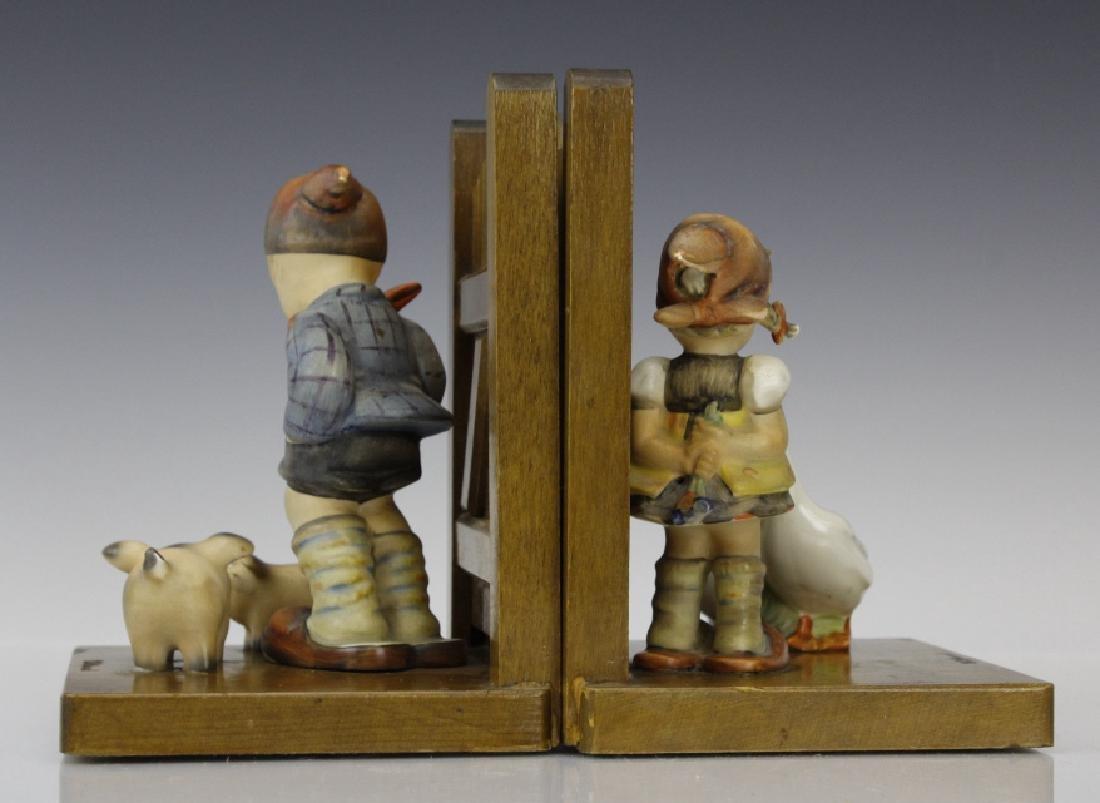 PAIR of Hummel Porcelain & Wood Decor Bookends - 3