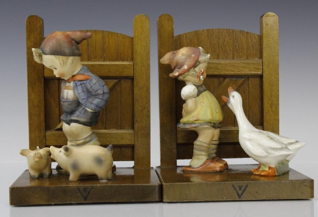 PAIR of Hummel Porcelain & Wood Decor Bookends - 4