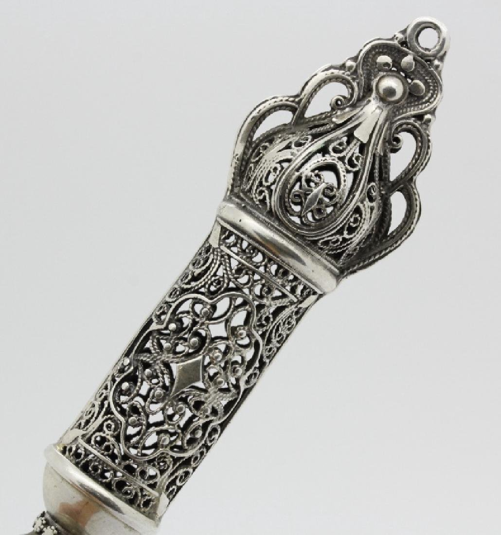 Elaborate Sterling Silver Judaica Torah Pointer - 7